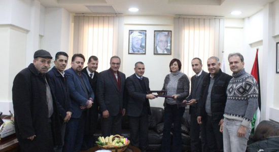 Palestine Polytechnic University (PPU) -  توقيع  اتفاقية مشتركة  لتأهيل مشغل لصناعة الأحذية في السلامة والصحة المهنية