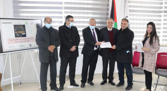 "Palestine Polytechnic University (PPU) - The Mayor of Hebron honors the ""Polytechnic Team"" who won the ""HEMAHACK2020"" Contest for Entrepreneurial Ideas"